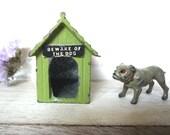 Vintage Miniature Bulldog and Kennel, John Hill & Co Beware Of The Dog, Britains era Johillco Lead Dog, Farm Animal Pet, Tiny Bulldog Figure