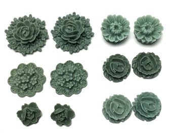 12 pcs resin cabochon flowers 16mm to 25mm # FL137