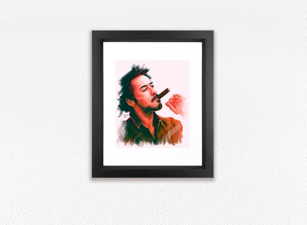 Framed Art Print Robert Downey Jr Print Digital Painting Fanart Giclee Print Stylish