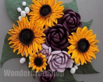 Sunflower Decor, Beauty Salon Decor, OOAK Gift, Helianthus Art, Paper Quilled Artwork, Wedding Flower Gift, Bridal Shower Gift, Purple Roses