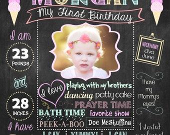 Ice Cream First Birthday Chalkboard Poster, Ice Cream Birthday sign DIGITAL FILE