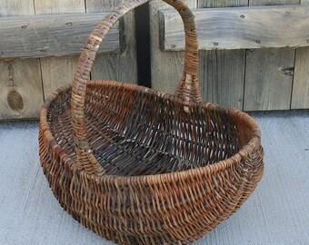 Vintage Twig Basket With Handle, Twig Basket Rounded Bottom, Twig Gathering Basket