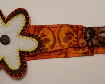 Orange Batik Youth Headband with Flower Applique