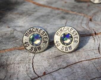 Silver Stud Bullet Casing Earrings