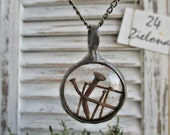 necklace with rusty nails,  steampunk, terrarium necklace, handmade