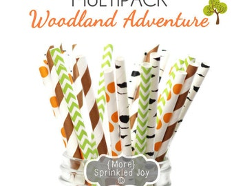 WOODLAND ADVENTURE Multipack, Birch, Brown, Gold, Peach, 25 Straws, in 5 Designs