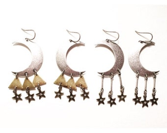 Sisters of the Moon- Space Traveler Edition Earrings with Triangles, Rhinestone Stars, and Silver Dangles