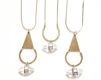 Jezebel Collection Double Terminated Crystal Pendant Necklace with Triangle and Crescent