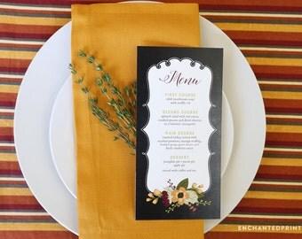 Fall Thanksgiving Menu Chalkboard Style Printable or Printed Cards - Customizable Menu Cards