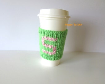 Personalized, monogramed front and back Coffee Cup sleeve - cup cozy