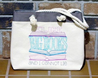 Embroidered Book Lover Handbag