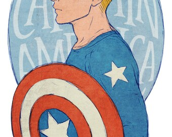 Steve Rogers Captain America art print 8.5x11 or 11x17 inches