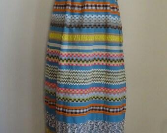 70's Maxi Skirt High Waisted Hippie Boho Festival Embroidered Skirt