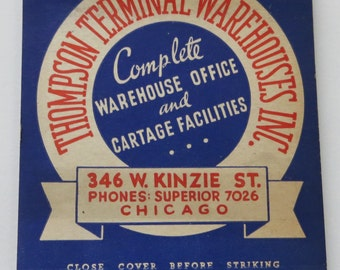 1920's Thompson Terminal Warehouses Chicago Oversized Feature Match Book - Free Shipping
