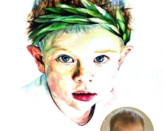 Custom Watercolor Portrait Based off your Photo! (Deposit)