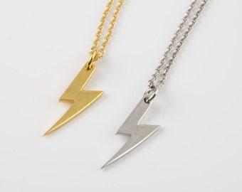 Bolt necklace,  Lightning necklace, Tiny bolt necklace,  Thunderbolt charm,  Tiny thanderbolt necklace,  Solid gold necklace