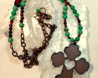 Large Iron Cross (With a Heart) and Long Necklace - Antiqued Copper Chain and Turquoise Green Sea Sediment Jasper