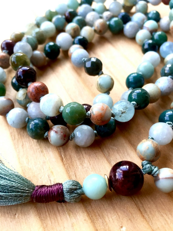 African Opal Mala Beads, Aquamarine, Garnet, Blue Jasper, Long Tassel Necklace, Root and Heart Chakra Mala, Yoga Jewelry Meditation Jewelry