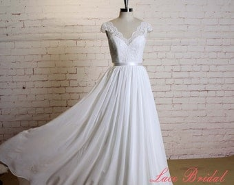 Custome Wedding Dress with Cap Sleeves A-line Chiffon Bridal Gown with V-Back Lace Wedding Dress with Waistband