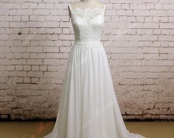 Ivory Backless Wedding Dress Simple Chiffon Wedding Gown with Chapel Train