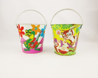 Your Choice - Two Sand Buckets From 'Ohio Art' - Baby Tigers or Singing Frogs - Vintage 1950s and 1960s Display - Play With Them