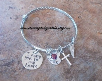 Personalized I Carry You In My Heart Memorial Adjustable Bangle Bracelet