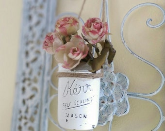 Shabby Chic White Hanging Mason Jar Flower Floral Vase Decor Decorations Wedding Home Dorm Office Patio Painted Distressed/Chippy Gift Idea