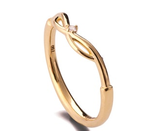 Celtic Wedding Band, 18K Yellow Gold Stackable Ring, Unique Wedding Band, Knot Wedding Ring, Knot Wedding Band, celtic ring, Diamond Band, 9