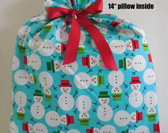 "Happy Snowman Gift Bag, 15"" x 20"", fabric gift bag, on blue/teal, Reusable cloth gift wrap, fast and easy to use, delightful presentation"