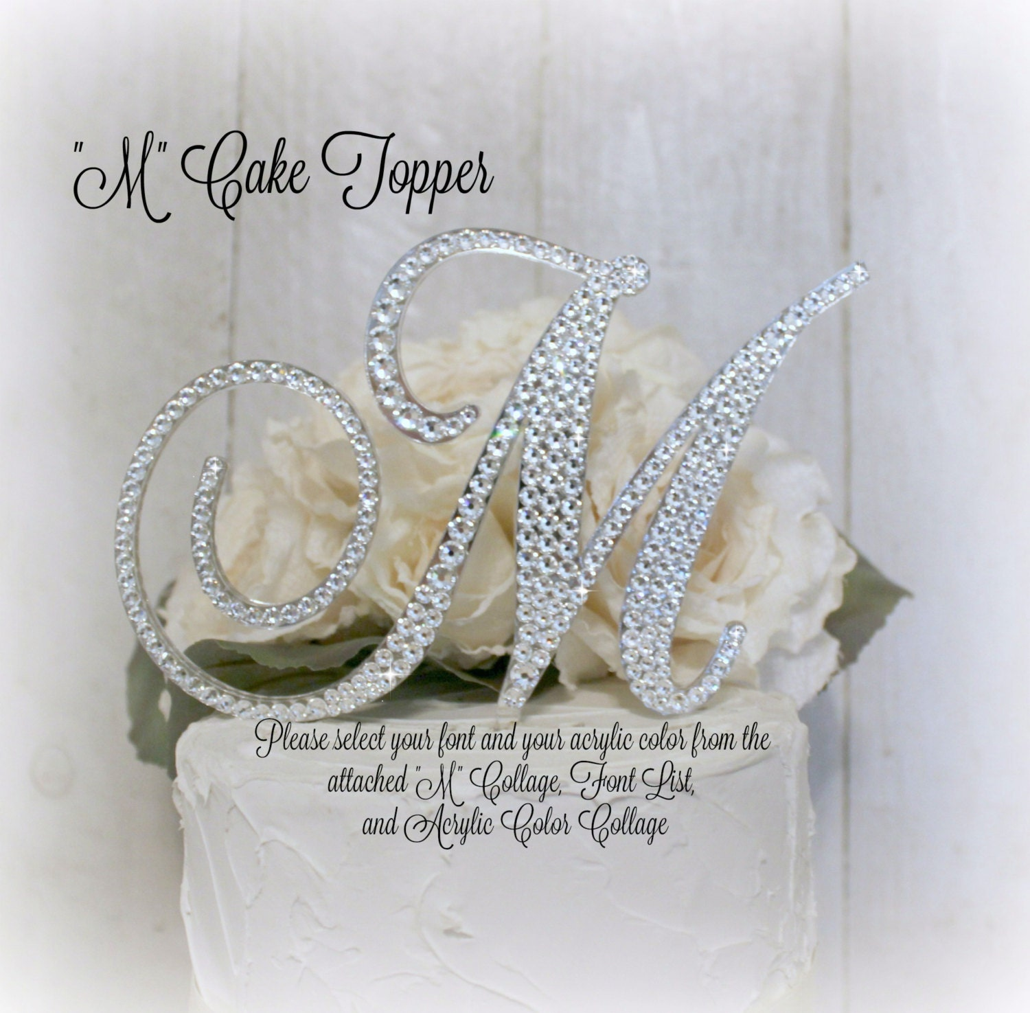 Wedding Cake Toppers Letter M : Wedding Cake Topper Letter M Initial Cake Toppers M Monogram