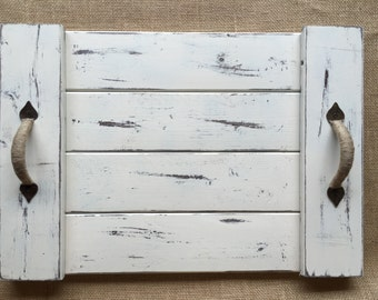 White Distressed Serving Tray