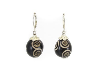 Vintage Eye Bead Earrings, Carved, Silver Tone, Hooks