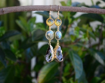 Citrine, labradorite and agate earrings