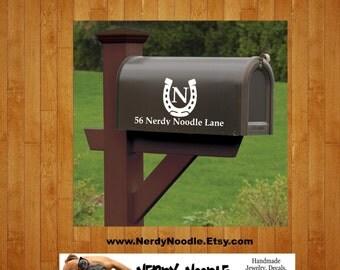Horseshoe Mailbox Decal, Ranch Custom Mailbox Decal, Address Decal, Mailbox Numbers, Mailbox Monogram, Mailbox Stickers