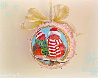 Birds Romantic Christmas Tree Bauble, Bird Xmas Tree Ball, Woodland Xmas Tree Bauble, Pink Shabby Vintage Christmas Ball, Xmas Tree Ornament
