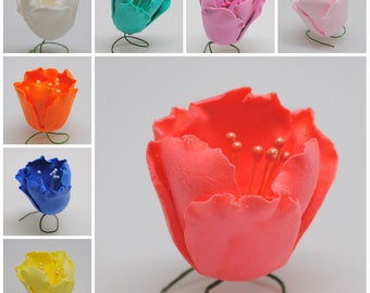 "1"" Gumpaste Tulips - Various Colors Available! - Fondant Edible Wedding Cake Toppers :)"