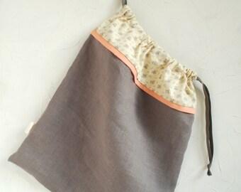 Grey Peach White Linen Lingerie Bag- Gift for her- Underwear bag -Delicate's bag - Monogrammed Gift