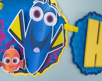 READY TO SHIP-Finding Dory, Fish Themed Birthday Banner, Dory, Nemo, Under the Sea