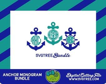 Anchor SVG Anchor Monogram SVG Bow Monogram SVG Files dxf Files Vector Art Cricut Design Space Silhouette Studio Digital Cut Files