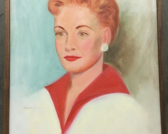 Vintage Oil Portrait of a Glamorous Red Head Woman