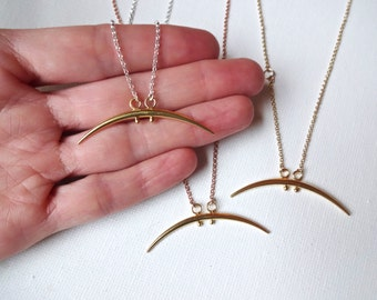Large Karen Hill Tribe Gold Vermeil Sideways Spike Tusk  & 14k Rose Gold Chain Charm Necklace; Unique Modern Jewelry; Sideways Gold Tusk