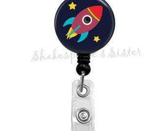Rocket Ship, Space, Badge Reel, Retractable Badge, ID Holder