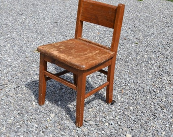 Vintage Wood School Desk Chair Child Size Kids Childrens Craft Time Out Wooden Seating PanchosPorch