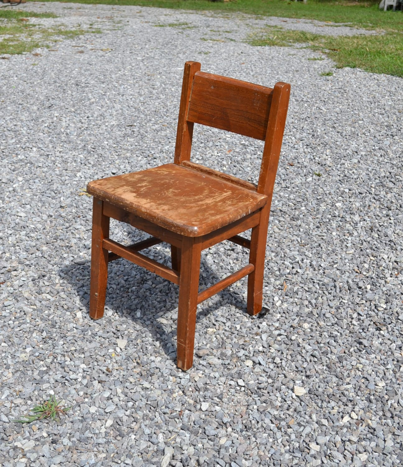 Vintage Wood School Desk Chair Child Size Kids Childrens Craft