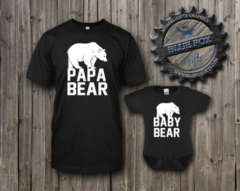 Dad and Baby matching shirts,Papa Bear Shirt, Baby Bear Shirt, cute baby clothes, Parent child set, Mens shirt,baby bodysuit, BAM_001