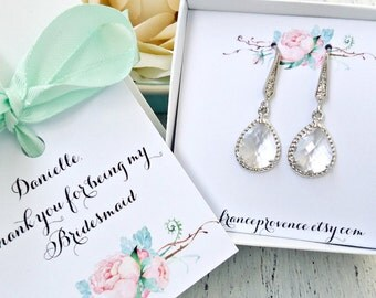Bridesmaid jewelry set of 8 earrings silver teardrop earrings clear crystal earrings Bridesmaid Gift