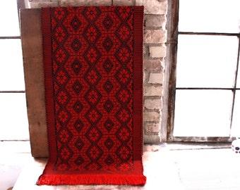 Vintage Kelim,Kilim,Hungarian,folk rug,red,table runner,woven rug,wall hanging