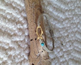 Macrame bracelet 22k gold fish with bead/ macrame bracelet/woman fashion jewelry/chic and elegant