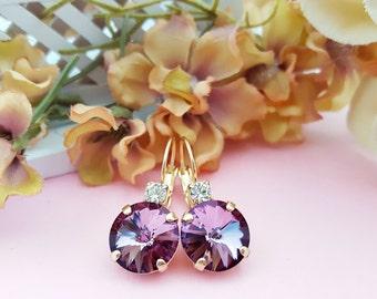 Amethyst Earrings ~ Mauve Crystal Earrings ~ Purple Rhinestone ~ Swarovski Crystal Dangle Earrings Rose Gold ~ Violet Earrings for Her E3809