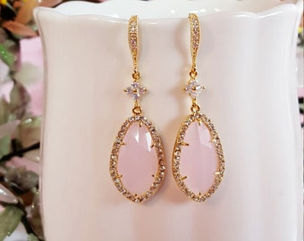 Pink Opal Earrings, Ice Pink Earrings, Pastel Pink Teardrops, Gold Cubic Zirconia, Pink Wedding Pale Pink Bridesmaid, It's a Girl Gift E2400